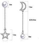 snowquene TM S925orecchini in argento Sterling per le donne design asimmetrico, la luna e la stella perla orecchini