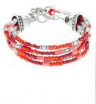 EIMEN - Bracciale - silver-coloured/red