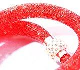 Bracciale a due con cristallini luccicanti e pietra Shamballa gioiello a passo di moda di colore rosso Marchio MyBeautyworld24