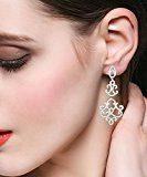 EVER FAITH® 925 Argento Cubic Zirconia ispirazione vintage lampadario ciondola gli orecchini N06923-1