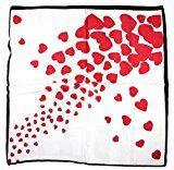 Bees Knees Fashion - Sciarpa - Cuore rosso bianco sciarpa quadrata piccola di seta pura