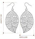 Bling Jewelry-Ciondolo a foglia vintage Creative-Orecchini pendenti placcati in argento, da donna