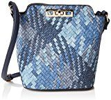 SwankySwansSally Weave Pu Leather Shoulder Bag Navy Blue - Borsa a tracolla donna