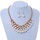 Placcato oro crema perla bavaglino collana e orecchini a goccia set–40cm l/8cm allungabile
