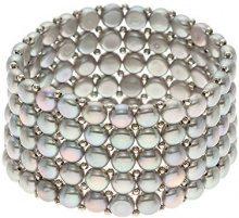 Pearls Colors &-Collana da donna multifilo, in acciaio inox, con Perle d'acqua dolce, lunghezza: 40 cm-CCN24 PC