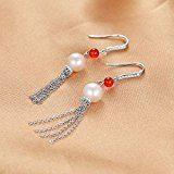 JewelryPalace Rotondo 8mm Perla Coltivata in Fresca Acqua Dolce Rosso Agata Onice Dangle Orecchini 925 Sterling Argento