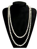 Babeyond Collana Perle Lunga Charleston Accessori Charleston Collana Perle Anni 20 Collana Donna Gatsby Collana di Perle Sposa Collana Perle Donna Bianco 55