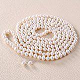 Rolicia AA Grade 8-9mm 65Inches 165 centimetri d'acqua dolce collana di perle coltivate di corrispondenza Orecchino Set in contenitore di regalo