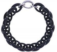 Karen Millen-Bracciale a maglie ovali grandi, in resina, colore: nero, lunghezza 61 cm