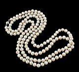 TreasureBay Collana elegante e classico, con perle naturali da 7-8 mm, perle d'acqua dolce bianche, lunghezza 120 cm, spediti in una lussuosa confezione regalo