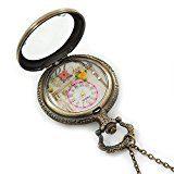 Bronzo antico, motivo con Torre Eiffel, fiori &-Collana con ciondolo a forma di orologio da tasca, 45 mm/80 cm