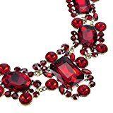 Collana da Donna Girocollo Diamante Cristallo Resina colore Rosso Plastron Regalo