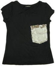 T-shirt Donna Nera Tasca Paillettes Oro