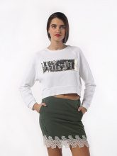 Crop Top Meme Bianco Paillettes