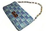 Borsa a mano e tracolla, pochette In maglia metallica decorata con fondo azzurro con manico in pietre dure
