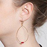 balabooste-bijoux-boucles orecchini dorate perline bordeaux-doré, Rosso