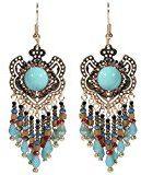 Orecchini da donna, in metallo dorato e Rocaille, stile etnico, Hippie, barocco, colore: blu