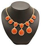 Bedazzled-Collana etnica colore oro Statement collana con pietre arancione, in confezione regalo