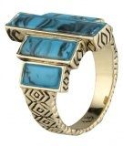 THE LONG RAIN STEPS - Anello - gold/turquoise