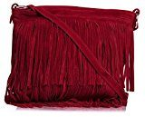 Big Handbag Shop - Borsa a tracolla da donna, compatta, in pelle scamosciata, con frange