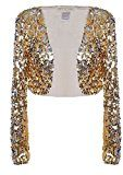 Anna-Kaci da donna Glitter Paillettes Maniche Lunghe Bolero Blazers Shrugs Cropped Giacche