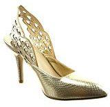 Sopily - Scarpe da Moda scarpe decollete stiletto aperto alla caviglia donna pelle di serpente Tacco Stiletto tacco alto 9 CM - Oro