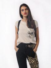 T-shirt Donna Beige Tasca Paillettes Argento