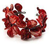 Motivo floreale, colore: rosso corallo perla simulata & Braccialetto (argento)
