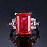 JewelryPalace Lusso Nano Russo Artificiale Smeraldo Zaffiro Rubino Solitario Anello di Fidanzamento 925 Argento Sterling