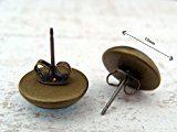 Miss Lovie orecchini Vintage etnico orecchini Cabochon 12 mm orecchini blu