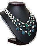Franki Baker Beautiful Blue Green Fluorite & Collana con perle