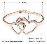 City Ouna® Elementi di Swarovski 18k oro rosa doppio amore aperto sopra argento creato tubo di cristallo bianco bracciale per donne