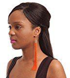 Arancione Neon, lunghezza orecchini placcati In oro, lunghezza 17 cm