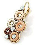 Con perle di cristallo multicolore, a cerchio, con chiusura a monachella e orecchini a goccia In oro, colore: panna, Beige, marrone, 42 L
