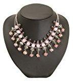 Bedazzled - Collier vintage in stile Gatsby, con perline rosa, viola e grigie, in confezione regalo