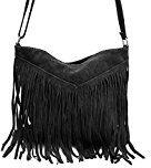 Borse a spalla , Borse a tracolla, sacchetto di frange, in pelle ( 26/ 23/ 2 cm), Mod. 2068 by Fashion-Formel