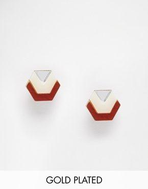 Wolf & Moon - Orecchini con piccolo bottone esagonale a specchio