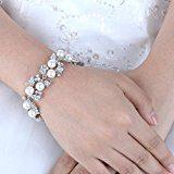 Ever Faith® cristallo austriaco Bracciale con foglie perle artificiali elegante