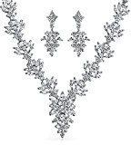 Bling Jewelry Marquise CZ Fiore Nuziale Foglia Collana pendenti orecchini Set placcato Rodio