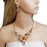 Ever Faith Fiore Collana dello smalto in stile Liberty orecchini Set Marrone austriaco di cristallo Gold-Tone N03498-8