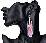 Lureme® stile bohemien piume di fagiano con perline di corrispondenza ciondola gli orecchini per le donne e le ragazze (02004735-3) rosa
