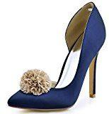 ElegantPark HC1601 Donna Satin Scarpe A Punta D'Orsay Tacco A Spillo Pompe Partito Scarpe Da Sposa