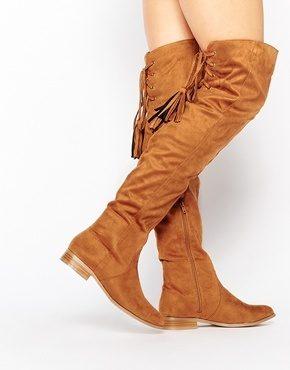 Missguided - Stivali bassi sopra al ginocchio