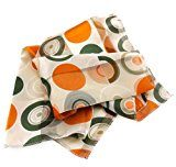 signore raso panno-nicki - crema bianco arancione verde con disegni circolari - panno foulard sciarpa