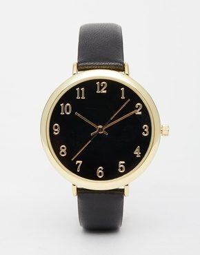 ASOS Premium - Orologio con quadrante nero e cinturino di pelle