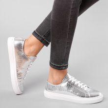 Sneakers metallizzate con motivo pitonato