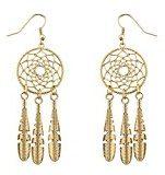 Lux Accessories boho dorato colato Dreamcatcher piuma orecchini pendenti
