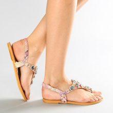 Sandalo infradito con pietre gioiello a goccia