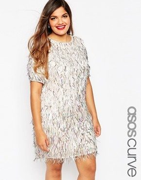 ASOS CURVE - RED CARPET - Vestito a trapezio decorato con frange