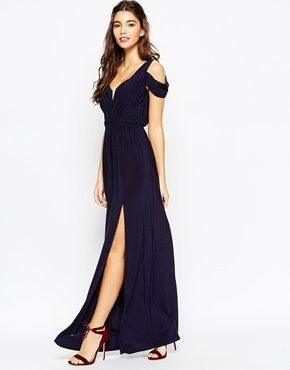 ASOS WEDDING - Vestito lungo drappeggiato con spalle scoperte